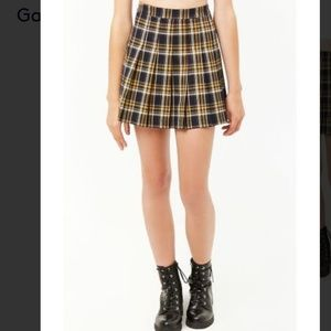 Forever 21 plaid pleated skirt brown navy yellow